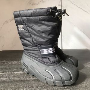 Sorel Youth Cub Black Snow Boots Waterproof